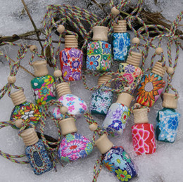 Wholesale 15 ml Car hang decoration Polymer clay essence oil Perfume bottle Hang rope empty bottle
