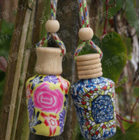 Wholesale New Arrive ml Car hang decoration Ceramic essence oil Perfume bottle Hang rope empty bottle