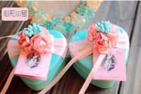 tiffany blue favor boxes - 50Pcs Pink Color Flowers Candy Boxes Style Tin Favor Holders Irion Gift Boxes