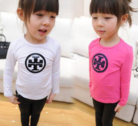 Wholesale 2014 Children Girls Spring Long Sleeve Cross Printed White Rose Red Shirts Kids Basic Casual T Shirts China Girl Clothes B3059