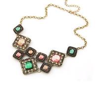 Wholesale Vintage Crystal Gem Bib Necklaces Women Fashion Statement Necklaces Multi Color Personalized Jewelry XL598
