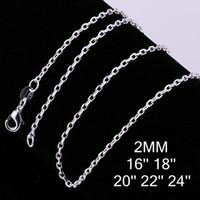 Wholesale Sterling Silver MM Grid Chain Men s Necklace quot quot quot quot quot