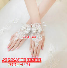 Wholesale DN Short In Stock White Bridal Gloves China Made Good Quality Applique Lace Tulle Beaded Bow Fingerless Wedding Gloves Pageant Gloves