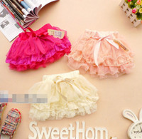Summer A-Line Bow Pageant 2014 Summer Girl Lace Gauze Flower Bowknot Tutu Skirt Kids Clothes Yarn Floral Bow Skirts Children Clothing Pink Beige Fushcia D2348