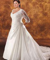 3 4 sleeve plus size wedding dresses - 2014 Hot Selling Plus Size Bridal Gown V neck Long Sleeve Taffeta Cathedral Plus Size A Line Wedding Dresses with Beaded Appliques