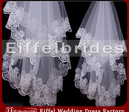 Wholesale Modest Custom made Most Beautiful Wedding Veils with Embellished Embroidery Lace Stunning White and Ivory High QualityTulle Bridal Veils