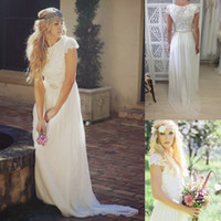 A-Line Reference Images Jewel 2014 New Beach Boho Chiffon Lace Wedding Dresses A line Cap Sleeve Floor Length Romantic Cheap Sheer Bridal Party Gowns Free Shipping