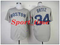Wholesale David Ortiz Jersey Gray Boston Red Soxs Jersey cool base baseball jerseys best quality embroidered baseball shirts breathable jerseys