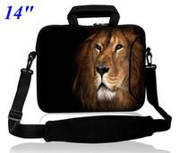 """14'' Messenger Neoprene Colorful 14""""-14.1"""" Laptop Shoulder Bag + External Pocket for Adapter, Mouse & Zipper Closure Lion King Printed on Front and Back Sides 819"""