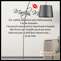 Wholesale 2014 New Arrival Home Decoration Wall Sticker English Proverbs i m selfish Marilyn Monroe wall decal Wall stickers Art Removed Wall Stickers