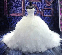 Wholesale 2016 Wedding Dresses Cheap Bridal Gowns Princess Sweetheart Corset Organza Cathedral Church Ball Gown Wedding Dresses with Beading