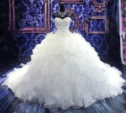 / Church Ball vestidos de novia vestido 2016 vestidos de boda vestidos de novia barato Princesa Escote corazón del corsé de la catedral del Organza con rebordear