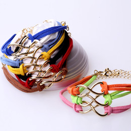 Wholesale Infinity bracelet Fashion Bracelets Cross Infinite Symbols Anchor Leather Rope Bracelet
