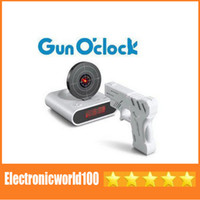 Wholesale Amazing Lazy Laser Target Desk Shooting Shoot Gun Alarm Clock Cool Tech Gadget Toy Novelty with Red LED Backlight with retail package