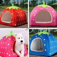 Wholesale New Soft Strawberry Pet Dog Cat Bed House Kennel Doggy Warm Cushion Basket Colors Sizes