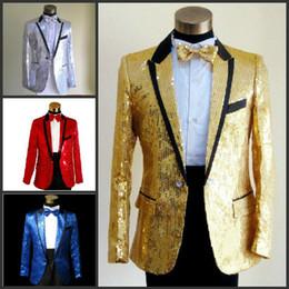 Wholesale 2014 New Sequins men s show suits wedding groom groomsman evening party host dress black edge colors Size M XL jacket pant girdle tie