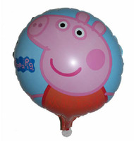 Wholesale 45 cm pink peppa pig balloon for birthday party inch round Aluminum foil ballon helium balloon