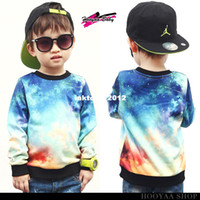 Wholesale HARAJUKU children hoodies street print long sleeve galaxy sweatshirt child colorful tie dyeing boys sweater children s clothing