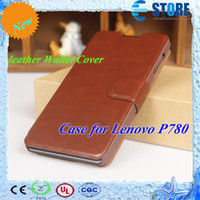 For Chinese Brand Leather For Christmas 2014 New Case for Lenovo P780 luxury leather Wallet Cover Free shipping mobile phone bags & cases Brand New wu