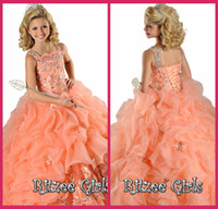 Wholesale Kids Ball Gowns Spaghetti Orange Organza Crystal Beading Lace Up Pageant Dresses Little Girl Pageant Dresses