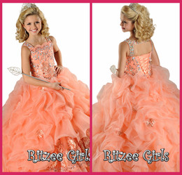 Kids Ball Gowns Spaghetti Orange Organza Crystal Beading Lace Up Pageant Dresses Little Girl Pageant Dresses