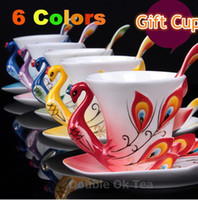 Wholesale New Arrival Colors Elegant ml Porcelain Color Enamel Mugs Peacock Coffee Cups amp Tea Set Ceramic Cups And Saucers Gift Box