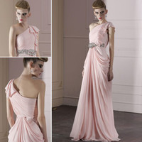 Reference Images One-Shoulder Chiffon WM Greek Goddess Modest Elegant Chiffon Evening Dress One-Shoulder Beades Sash Full Length Bridesmaid Dresses women's Party Occasion Gowns