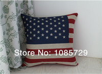Wholesale High quality fashionable linen material cushion cover pillow case American flag CM TH8119