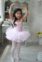 Wholesale Lovely Ballet dress new sleeveless tutu skirt fashion dance cloth with bow Short Sleeve Children Dance Dresses