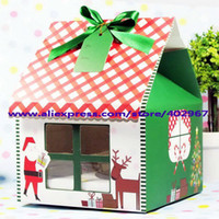Wholesale christmas Gift Boxes x15x20cm Hold cupcakes Cupcake Packaging Boxes Cake paper bags PVC window