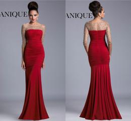 Wholesale Free Shippin Hot Sale Half SLeeve Beaded Evening Party Custom Made Mermaid Stretch Satin Red Graduation Dresses