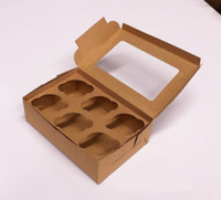 Wholesale L24xW16xH7 CM open window Cupcake kraft paper packaging boxes hold cup cakes with insert