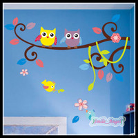 achat en gros de autocollants muraux pour enfants-Hot Sale 2014 Nouvelle Arrivée Cartoon Owls Décorations murales pour arbres Stickers pour enfants Stickers muraux Animaux Cute Vinyl PVC Art Removed Wall Stickers