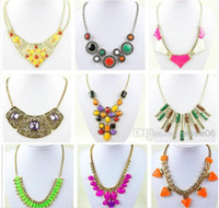 Wholesale Modern women necklaces chokers pendants charm jewelry diamond gem beaded necklace candy colors alloy clavicle short collar tennis necklace