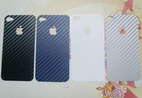 Wholesale Free DHL Hot Carbon Fiber fibre Vinyl Skin Sticker Full Body Stickers cover Guard for iphone S
