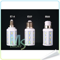 Wholesale New Desgin LED E27 E14 B22 bulbs corn light high bright lumens degree warm cool white SMD led lights V V