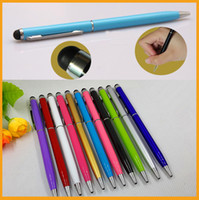 Pens aluminium ball pen - Metal Stylus Pen Aluminium in1 Capacitive Touch Black Ball Point Pen For iPhone iPad Samsung HTC With Retail Packing DHL