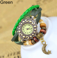 Wholesale Hot New Style Retro Moon Hand woven Bracelet Watch Leather Vintage Watch Bracelet Wrist watches DHL
