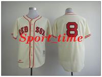 Wholesale cheap vintage baseball jerseys red sox Carl Yastrzemski cream men s stitched throwback jerseys best quality home jersey retro jerseys