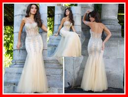 Wholesale 2014 Backless Mermaid Sequins Beads Ruffle Evening dresses Floor Length Zipper Strapless Trumpet long Trumpet sexy prom dress