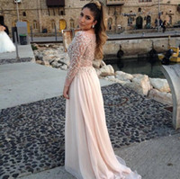 Reference Images Crew Chiffon 2014 Long Sleeves Elie Saab Prom Dresses Sheer Scoop Gorgeous Crystal Beaded Neck A-Line Floor-Length Chiffon Evening Pageant Gowns BO2059