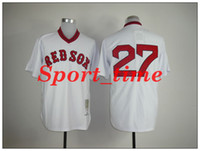Men baseball kits - Throwback baseball jerseys Red Sox Carlton Fisk Stitched vintage style jerseys Cooperstown Collection white men baseball uniforms kit