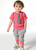 Boy Summer Short Wholesale - 2014 New Arrival Baby Boys 3pcs Suits T-shirt+Pants+Tie Boy Sport Clothing Suits Printed Top Summer Outfits Children Clothing