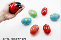 Plastic maracas - Cartoon Colorful Orff Wooden Maracas Eggs Baby Funny Wood Instrument Toys Infant Educational Toys