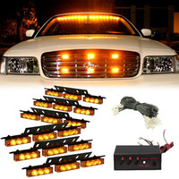 Wholesale Strobe Light Amber White - Amber White White &Amber 54 LED Emergency Vehicle Strobe Flash Lights for Front Deck Grille or Rear light flash