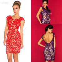 2014 Red Purple Lace Sheer Cocktail Dresses Sexy Cap Sleeves...