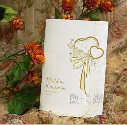 Wholesale Cheap wedding invitation cards wedding guest invitations unique wedding invitation cards ribbon wedding invitations card A06