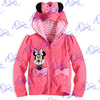 Wholesale 2014 New children s clothing cotton girls cute polka dot Minnie Mouse mickey hoodies sweatshirts girls outerwear rose red pink