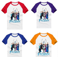 Wholesale In Stock Frozen T Shirt Short Sleeve Children Summer Clothes Boys Girls Cotton Plain Tee Top Colors New Hot