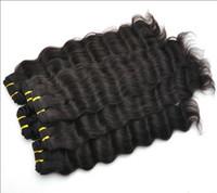 Pelo trama doble teje Baratos-5A comercio! Extensión brasileña del pelo de la onda profunda rizada 12 & amp; quot ; -28 & amp; quot ; envío libre de DHL 100 % cabello humano de la armadura de la trama doble del pelo, pelo virginal brasileño